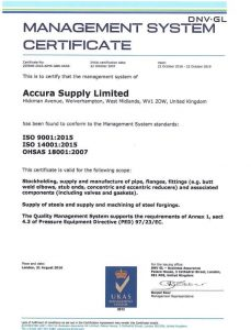 Accura Supply Limited Achieve the ISO 9001;2015 Standard